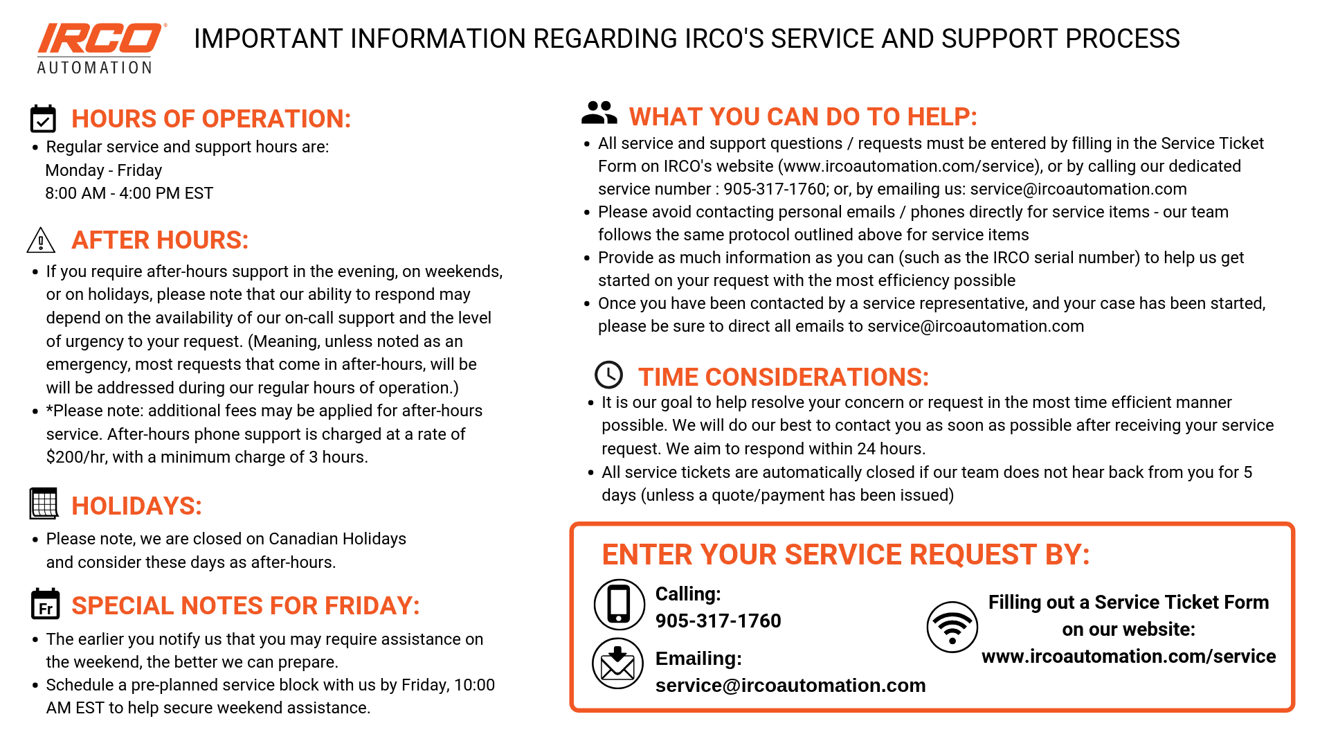 SERVICE PROCESS- IMPORTANT NOTES