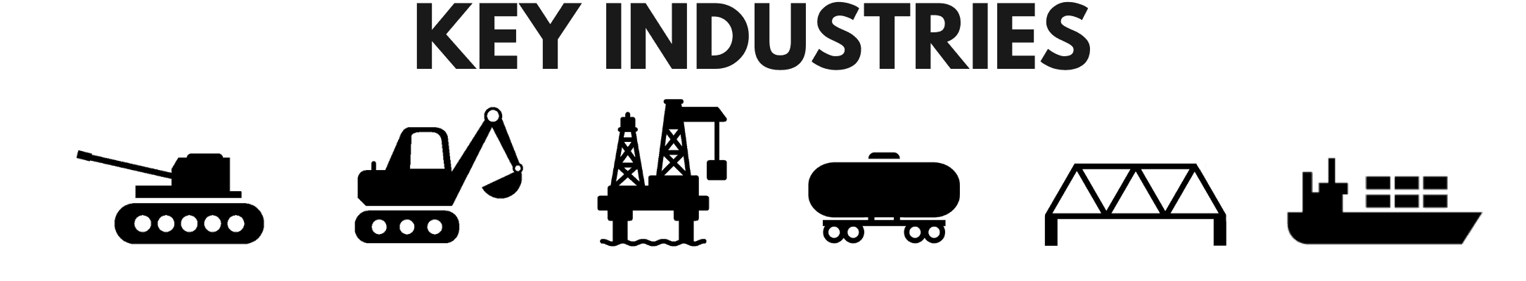 Icons of some of the heavy industries that IRCO Automation provides welding positioning equipment and welding automation to.