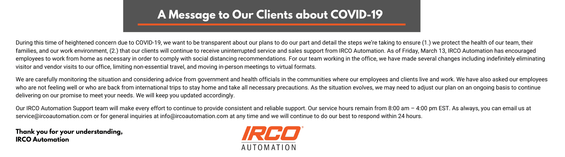 IRCO Automation is open as an essential business through COVID-19 pandemic.